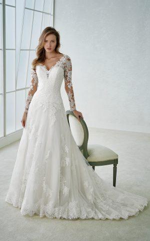 rochie de mireasa printesa dantela tull white one 2018 sposa dell amore fabria la reducere