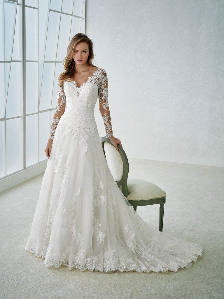 rochie-de-mireasa-printesa-dantela-tull-white-one-2018-sposa-dell-amore-fabria-768x1024
