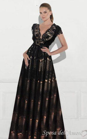 rochie de seara eleganta dantela neagra bej sposa 30120171 5a