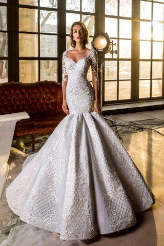 rochie de mireasa haute couture exclusivista demetria sposa dell amore 2018 dantela abstracta broderie imperiala