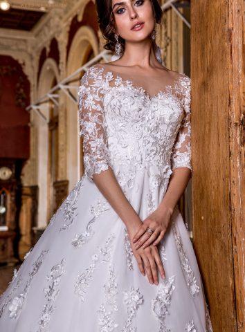 rochie de mireasa printesa dantela 3D flori 3D rochie de mireasa 2018 sposa dell amore titania 1