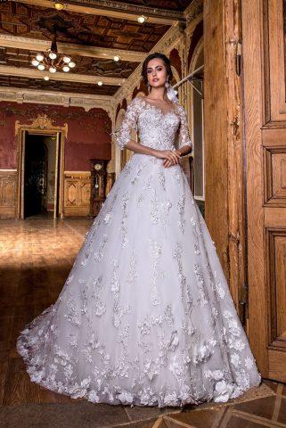 rochie de mireasa printesa dantela 3D flori 3D rochie de mireasa 2018 sposa dell amore titania 3