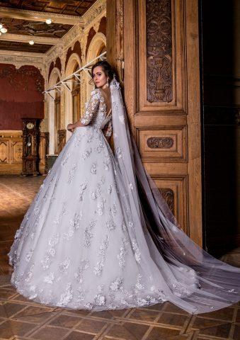 rochie de mireasa printesa dantela 3D flori 3D rochie de mireasa 2018 sposa dell amore titania