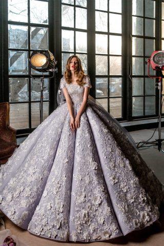rochie de mireasa printesa imperiala flori 3D sposa dell amore 2018 saphira