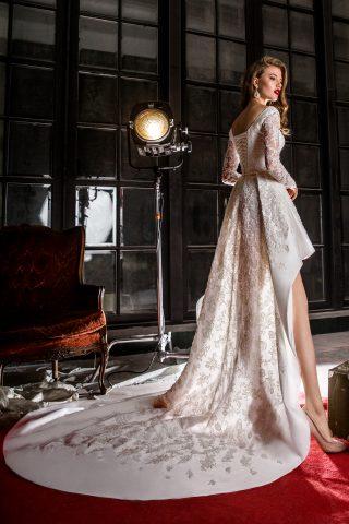 rochie de mireasa scurta in fata trena tafta dantela sposa dell amore 2018 ondina 2