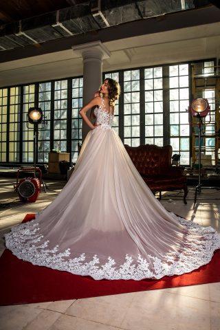 rochie de mireasa sirena trena detasabila dantela bordura sposa dell amore 201 preslie 2
