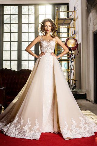 rochie de mireasa sirena trena detasabila dantela bordura sposa dell amore 201 preslie