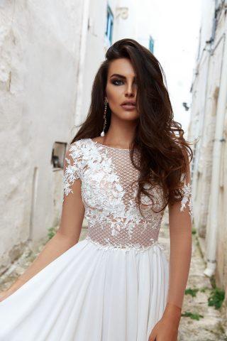 Rochie de mireasa sifon empire dolce sposa dell amore 2018 2
