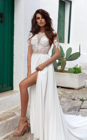Rochie de mireasa sifon empire dolce sposa dell amore 2018