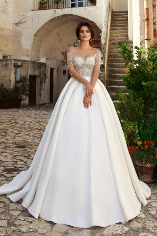 rochie de mireasa abelie 2018 sposa dell amore printesa satin cristale
