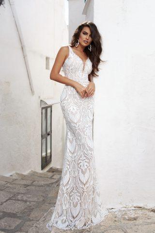 rochie de mireasa sirena 2018 dantela KEMINA sposa