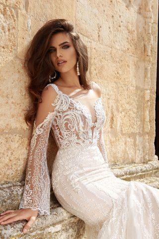 rochie de mireasa sirena 2018 dantela germinia sposa 2