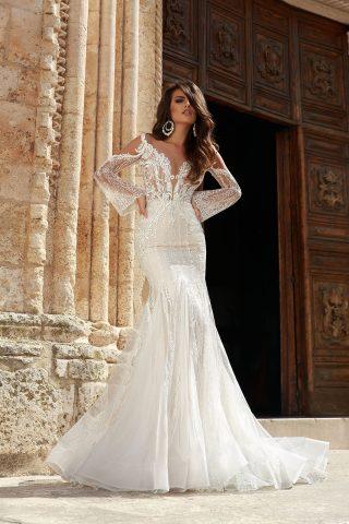 rochie de mireasa sirena 2018 dantela germinia sposa