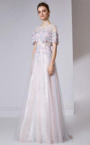 rochie de seara rochie de bal flori tul-32026-a line bucuresti