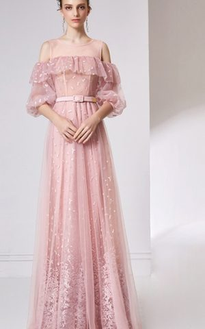 rochie de seara volan tull dantela romantica rochie d ebal roz deschis bucurest 32055
