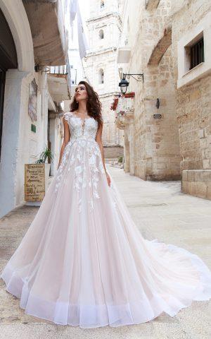 rochie de mireasa A line Flaviani dantela aplicatii sposa dell amore
