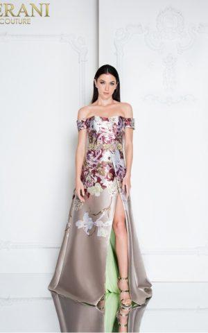 1811e6125_taupe_multi_front rochie de seara eleganta tafta