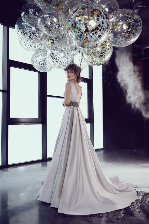 rochie de bal argintie tafta ed 18 11 rochie de nunta sposa dell amore 6