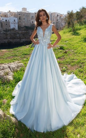 rochie de mireasa printesa bleo diamante flori 3 d cristale sposa dell amore