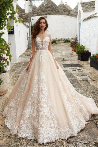 rochie de mireasa printesa crem sampanie ivory eufamia sposa dell amore broderie