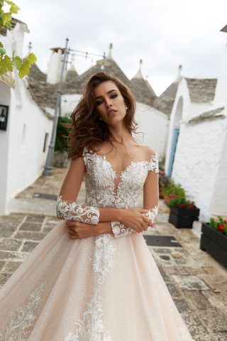 rochie de mireasa printesa crem sampanie ivory eufamia sposa dell amore broderie 56
