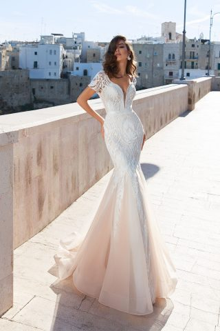 rochie de mireasa sirena dantela ivory sampanie alegra sposa dell amore 2018