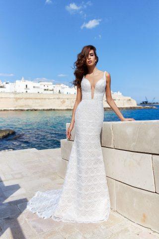 rochie de mireasa sirena elda dantela solzisori sposa dell amore