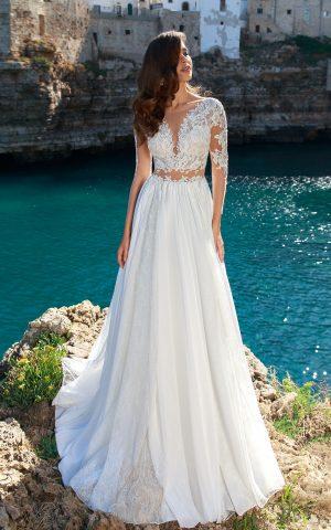 rochie de mireasa stil empire matase voal sifon broderie dani sposa dell amore