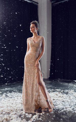 rochie de seara eleganta din dantela nude sposa ed 18 13