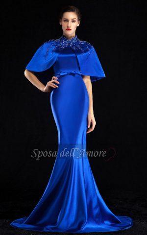 rochie de seara exclusivita dns 1533 albastra satin