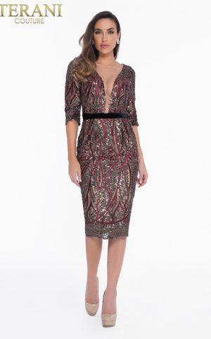 1821c7012_wine_black_front rochie cocktail cristale margele haute couture rochie soacra scurta