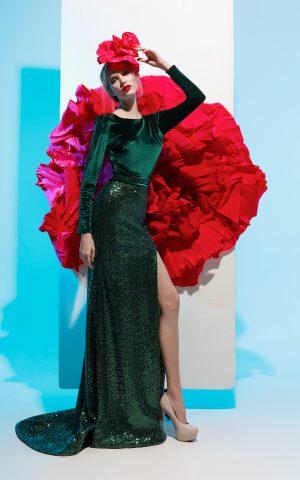 rochie de seara catifea paiete verde glycinia sposa 2018 rochie eleganta rochie de soacra 5