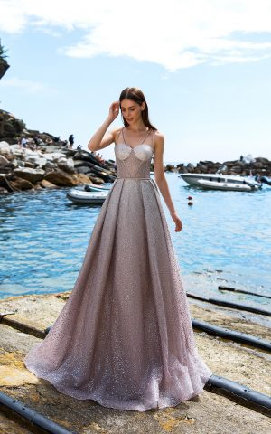 rochie de mireasa moderna glitter hesben sposa 2019