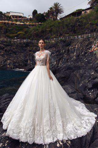 rochie de mireasa printesa pene dantela adilin sposa dell amore