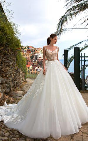 rochie de mireasa stil printesa tul dantela stil modern delight sposa dell amore