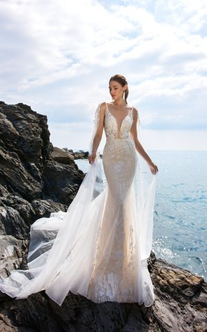 rochie sirena nude dantela ivory moderna si romantica eleonor sposa dell amore 2019