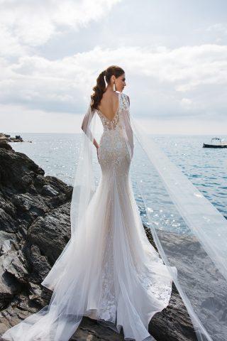 rochie sirena nude dantela ivory moderna si romantica eleonor sposa dell amore 2019 5