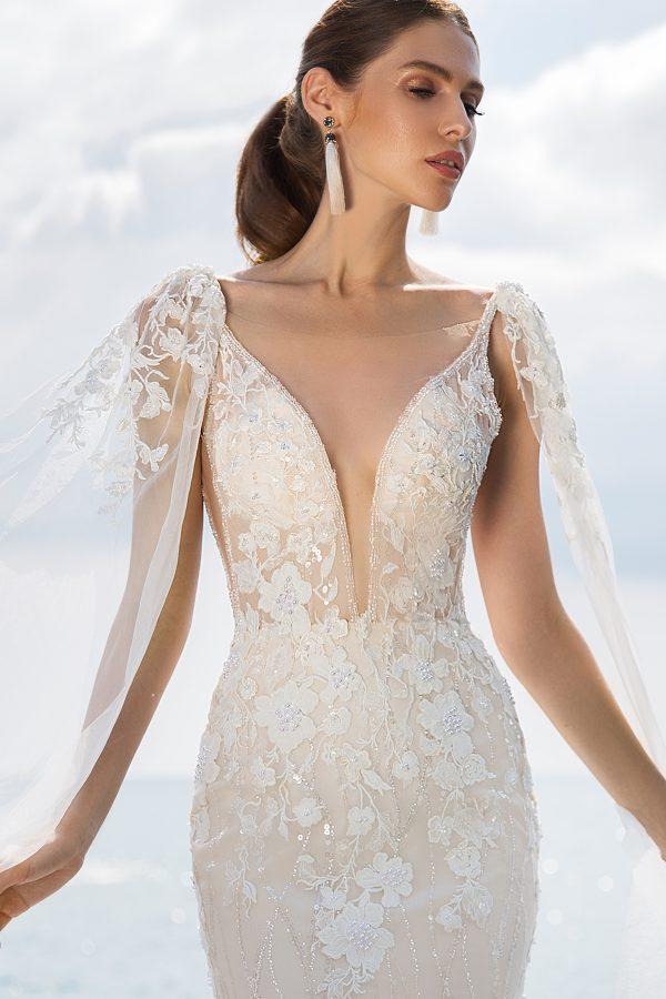 rochie sirena nude dantela ivory moderna si romantica eleonor sposa dell amore 2019 69