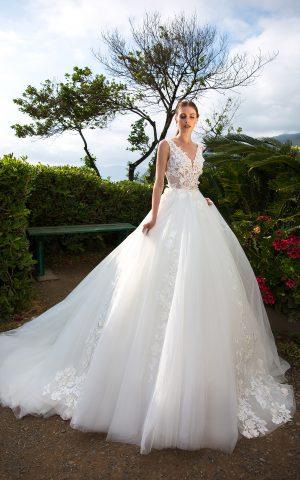 rochie de mireasa printesa dantela 3 d decolteu V bucuresti sposa dell amore leni 2019