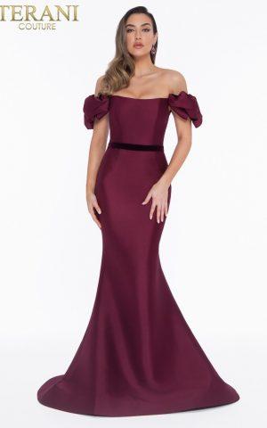 rochie de seara burgund red wine satin terani 2019 1821e7107_wine_back 2
