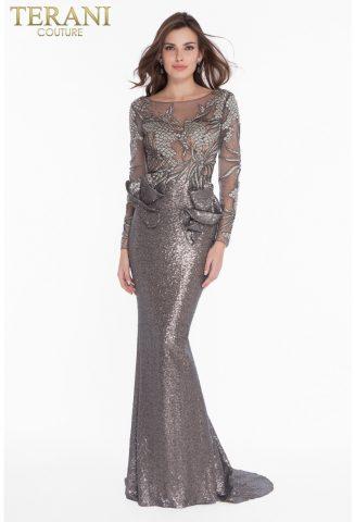 rochie de soacra, mama miresei rochie gri paieta glamour rochie nasa terani 1821gl7402_gunmetal_nude_back 5