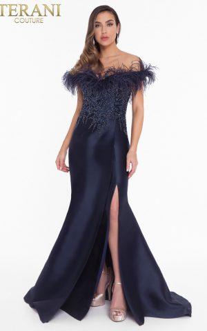 rochie de soacra rochie mama miresei bleomarin navy tafta pene exclusivista red carpet rochie eleganta 1821e7142_navy_back 5