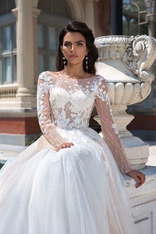 369A3330 rochie de mireasa printesa dantela maneca evazata broderie 2019 sposa dell amore 2