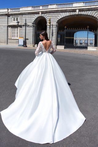 369A4432 rochie de mireasa printea tafta dantela maneci lungi decolteu un v edmunda 3
