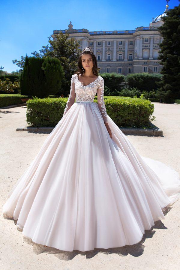 369A4650 rochie de mireasa printesa fusta tul dantela cu maneci margele paulia 2019