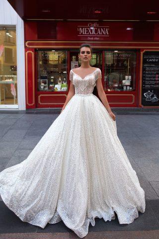 369A5511rochie de mireasa glitter stralucitoare cu franjuri de margele rochie printesa ivetta 2019