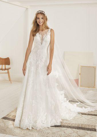 OLITE-B rochie de mireasa a line dantela romantica pronovias 2019