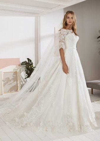 OSSA-B rochie de mireasa pronovias white one 2019 dantela printesa peste umeri sposa dell amore