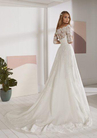 OSSA-B rochie de mireasa pronovias white one 2019 dantela printesa peste umeri sposa dell amore p
