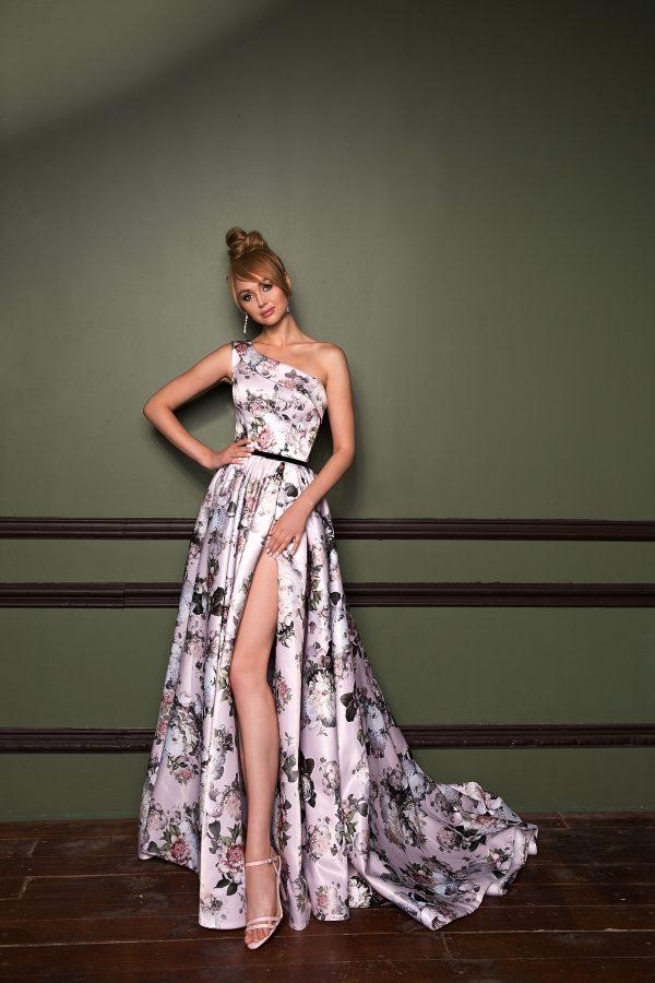 Rochie de seara deosebita inflorata, model unicat, realizata din tafta mikado printata.